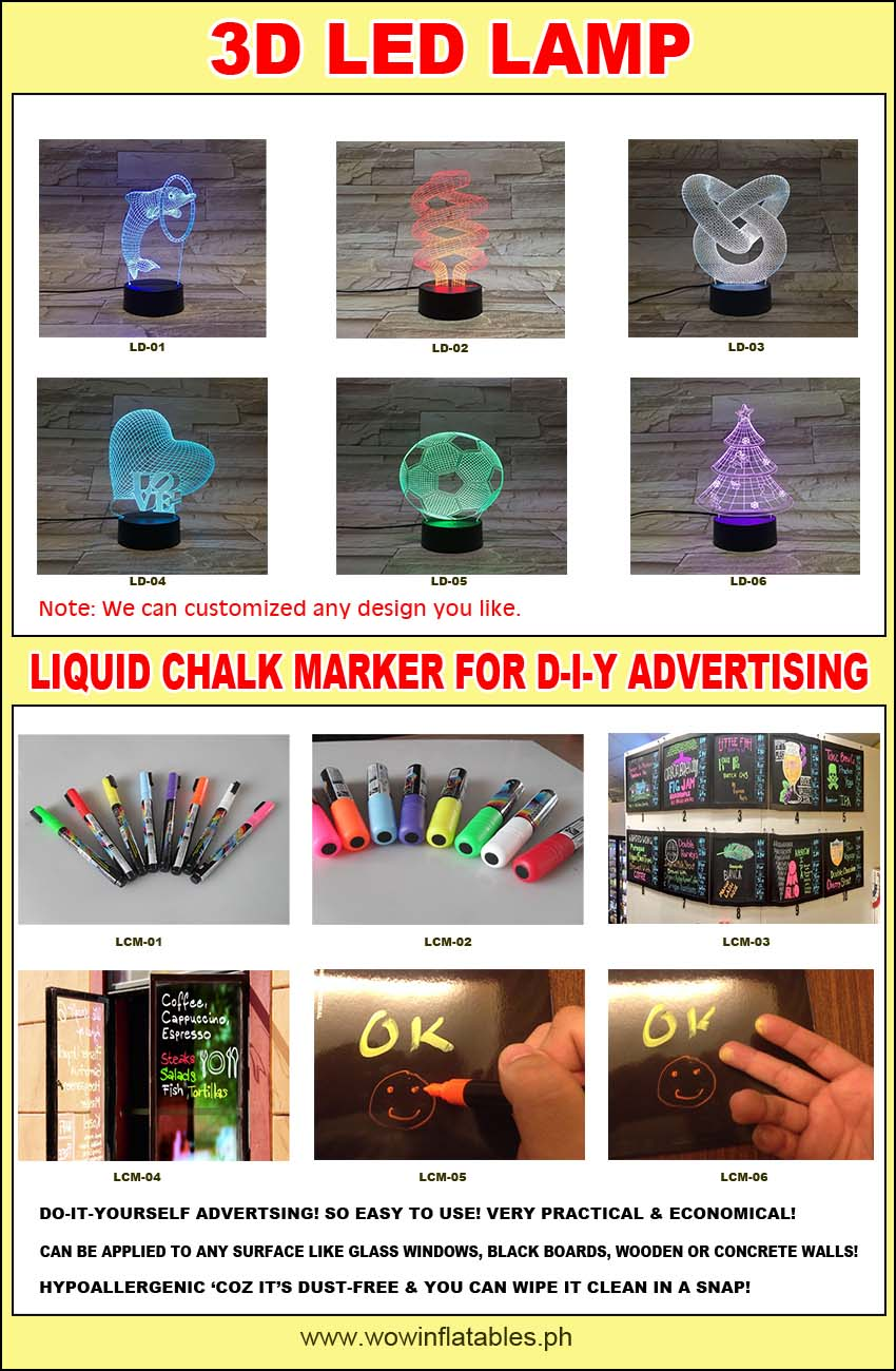 3d led lamp and liquid chalk marker